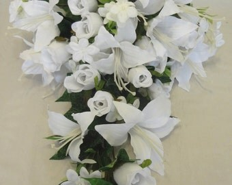 Rose and Lily Wedding Bouquets (White)