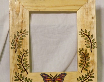 8x10 Picture Frame Butterfly, Wood-burned & Hand Painted on Reclaimed Wood