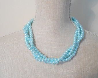 Pale blue Multi strand plated necklace, modern fashion jewelry great for summer, Gift under 20 30, Christmas present, for wife, daughter