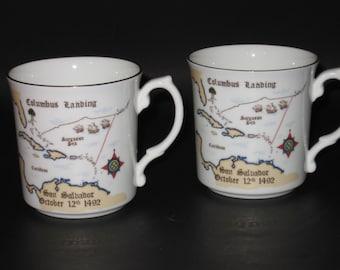 Royal Grafton Fine Bone China Mugs. Set of Two (2) Commemorates 500 Anniversary of Columbus Landing. England. 1992 NEW! Unused! VERY RARE!