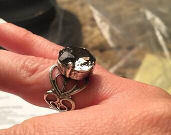 Crystal Rhinestone Adjustable Ring (ANY COLOR STONE)