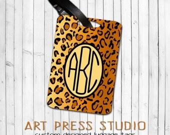 Monogrammed Cheetah Luggage Tag, Animal Print Bag Tag, Personalized Cheetah Luggage Tag