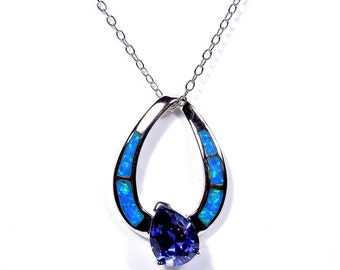 "18"" Necklace with 925 Sterling Silver, Tanzanite & Blue Fire Opal Inlay Pendant"