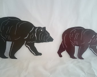 black or brown powder coated metal grizzly bear