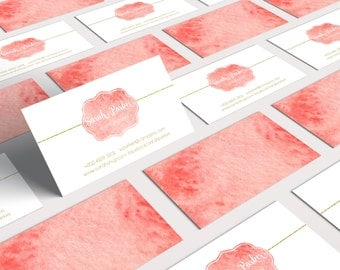 Watercolor Business Card Design, 2 Sides, Pink, Unique, Gold Glitter, Golden Foil, Multiple Versions Available to choose from