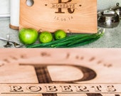 """Personalized Cutting Board """"Monogram"""" Lasered Engraved. Present for Wedding. Anniversary Gift"""