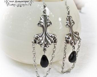 Silver rococo dangle earrings-Silver earrings-Gothic victorian jewelry-Gothic earrings