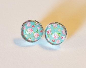 Mint Green Floral Earrings