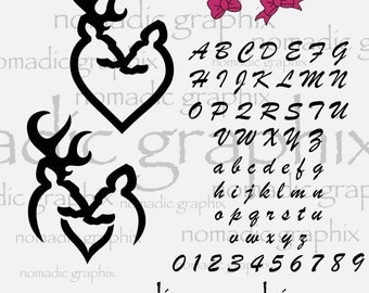Deer Heart Couple Template -  SVG / DXF / EPS - Personalize With These 5 Cut Files