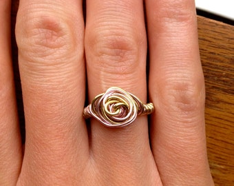 Adoption Fundraiser, Light Pink and Gold Wire Rose Ring - Rose Ring - Wire Ring