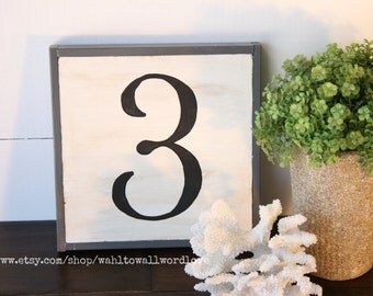 Wood number sign, number sign, farmhouse style number sign, family number, wooden number, gallery wall art, housewarming gift, custom number