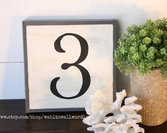 Wood number sign - vintage number sign - distressed number sign - gray and white - wood numbers - framed number sign - handpainted numbers