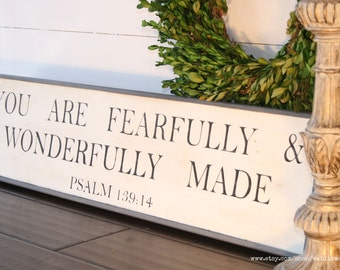 You are fearfully and wonderfully made | wood scripture sign | distressed wood sign | Psalm 139:14  | custom | rustic bible verse sign