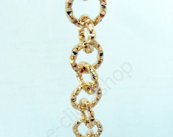 "Aluminum chain dyed gold ""hammered"" 1mt"