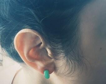 Arc jade stud earrings with silver edges, jade jewelry, Chinese jade-silver jewelry, jade-silver stud earring