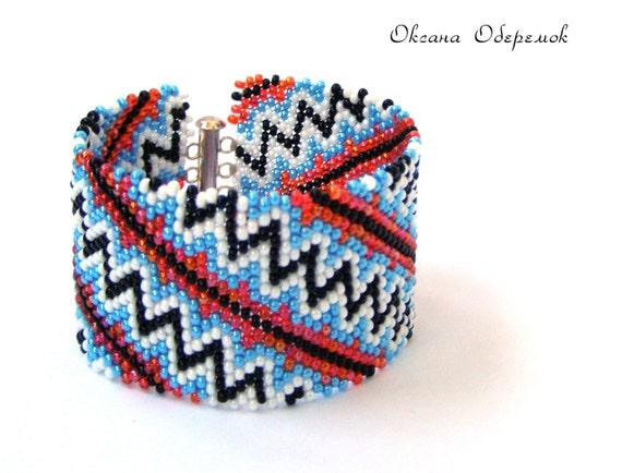 Ukrainian Beaded cuff Black Red Blue White beaded bracelet Ukrainian jewelry