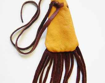 Native Style Handcrafted Two tone Deer Hide Pouch, #8