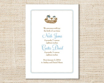 Bird Twins Birth Announcement, Baby Boys Personalized DIY Printable OR Printed with Matching Envelopes