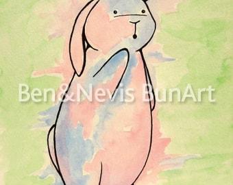 Bunny art, rabbit watercolour print, bunny illustration A5 (8.3 x 5.8 inch) rabbit treats, colourful bunny green, blue, pink, bunny art