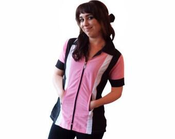 Grooming Smock, Stylist Wear, Grooming Apparel, Short Sleeve Pink