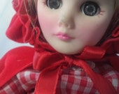 "Vintage Effanbee Storyland Doll ""Red Riding Hood"" All Original Tags Excellent Condition Vinyl Doll Sleepy Eyes Velvet Cape Gingham Dress"