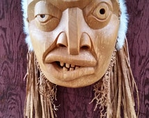 Rope Maker Mask - Hand carved Red Alder - Nuxalk Artist TL'PA - Beautiful wood grain - Natural