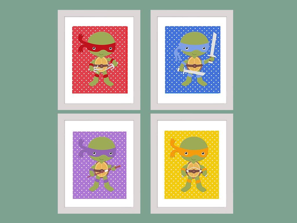 Ninja Turtle Wall Art Set Of 4 Wall Decor Printable Nursery