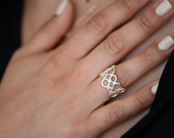 White Gold Bubble Ring , 14k White Gold Circle Ring , Wide Ring , Rose Gold Ring
