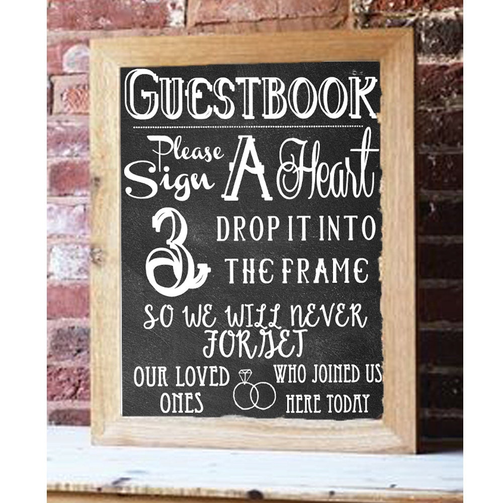 Diy Wedding Guest Book Frame With Hearts - diy wedding guest book ...