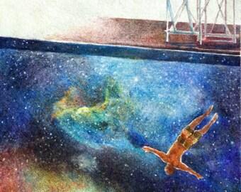 "Original fine art, prismacolor colored pencils - ""High Dive,"" 6 x 12 in"