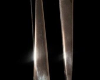 Long, sterling silver earrings