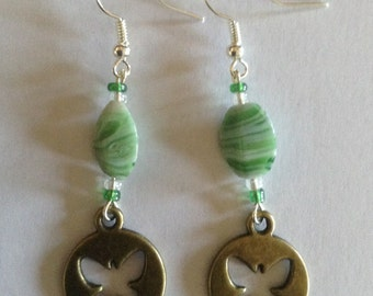 Green Butterfly Charm Earrings