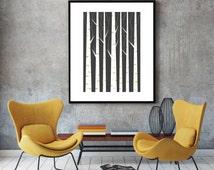 Geometric print, wall art, minimalist art poster, scandinavian print, nordic design, minimalist wall decor, black and white, Birch forest