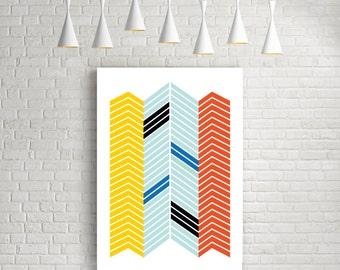 Zig zag stripes, abstract art, geometric art, geometric wall art, abstract geometric, scandinavian print, wall decor art print poster print