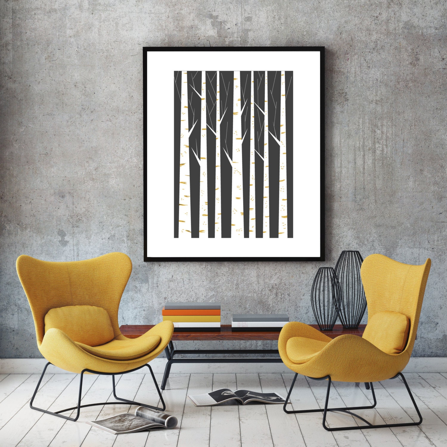 Geometric print wall art minimalist art poster scandinavian for Living room 12x18