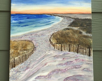 Sand and Sunset - Acrylic Canvas Painting
