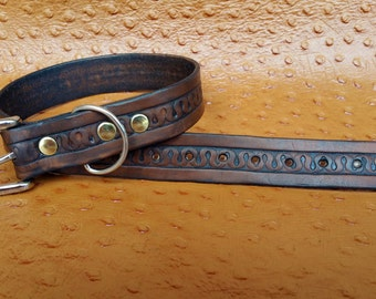 Hand tooled Leather Dog Collar (1 inch wide)