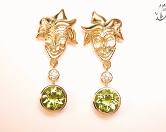 Gold Earrings, diamond Peridot, earrings peridot, brilliant earrings,
