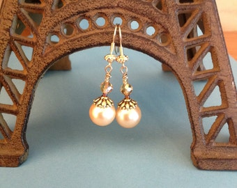 Classic Pearl Earrings with Gold Accents