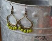 Bohemian Gypsy Dangle Drop Chandelier Earrings Green Czech Glass Beads