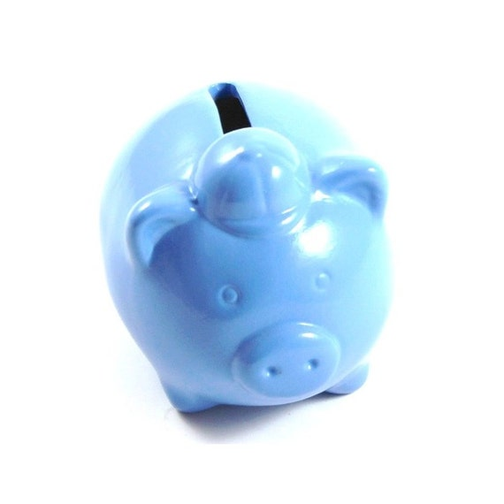 Mini blue piggy bank hand painted ceramic blue by for Mini piggy banks