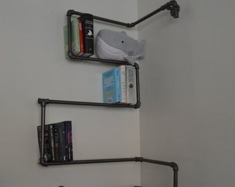 Gunmetal Pipe Bookshelf w/Light