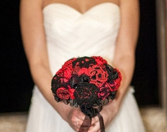 Pigeon red Crochet bridal bouquet