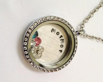 MorMor - Floating Birthstone Charm Memory Locket -  Custom Hand Stamped Gift for Mor Mor