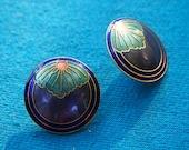 Round Purple Enamel Metal Earrings 1980s