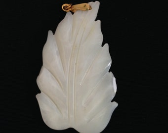 Ornate mother of pearl Leaf bead charm pendant LOT of 4