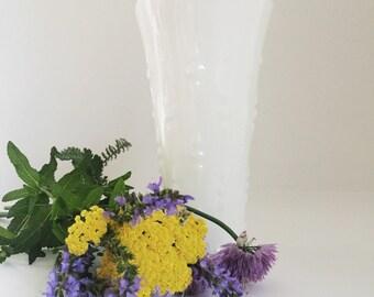 milk glass vase - white vase - etched - dots - midcentury modern - cottage chic