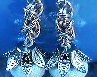 Byzantine Chainmaille Earrings, Jingle Bell Earrings, Chainmail, Shimmering Byzantine Chainmaille Earrings, Romantic, Special Occasion, Bell