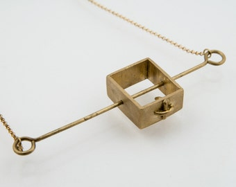 Cube Pendant Brass Necklace