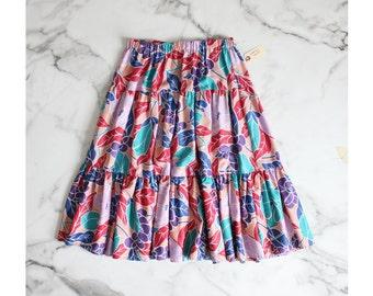 floral skirt / ruffle skirt / tiered skirt
